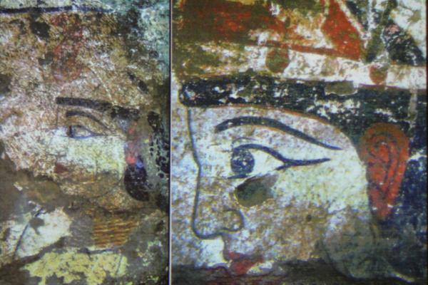 上图为乌兹别克斯坦KHORESMIA出土的公元前3-1世纪的壁画中所表现的眼线。而笔者拍摄于2016年7月11日新疆民丰县客运站南疆女人的眼线,从图上似乎还能看出以上两例的神韵。