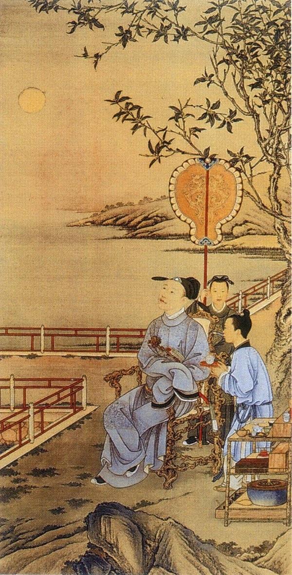 清乾隆郎世宁《弘历中秋赏月行乐图》(局部),故宫博物院藏