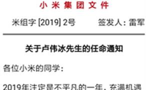 雷軍正式任命盧偉冰為小米集團副總裁負責紅米相關業務