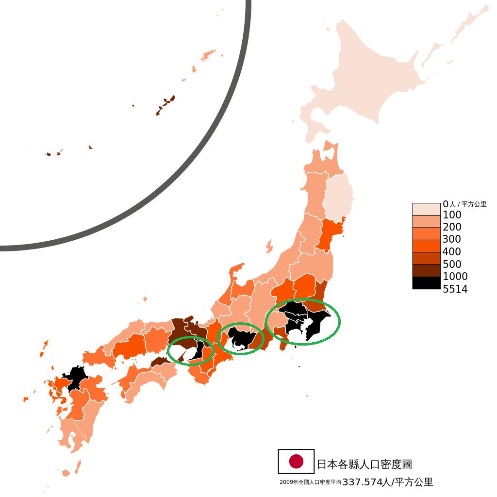 图中被圈出的地方从左至右分别为大阪、名古屋和东京都市圈,为日本人口密度最高的三个区域,底图来自维基百科