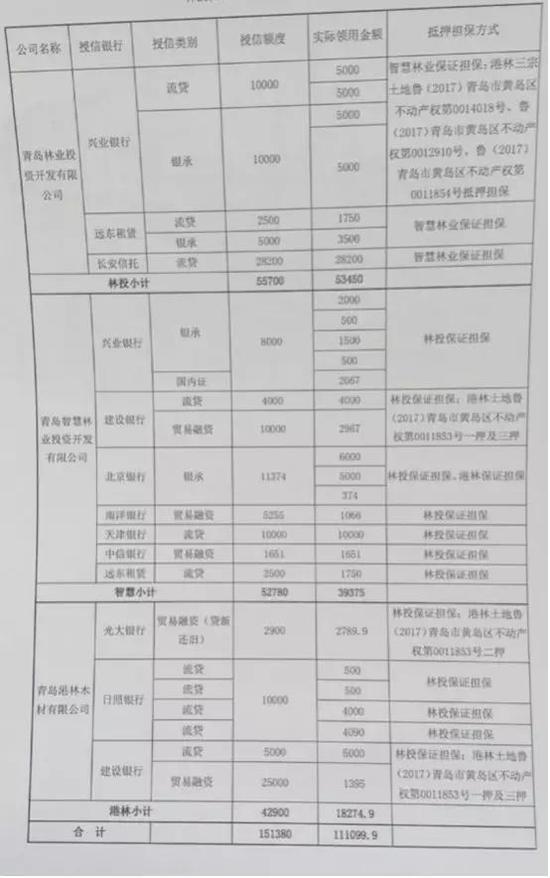 (爆料人提供:青岛林业投资及其下属公司融资明细 单位:万元)