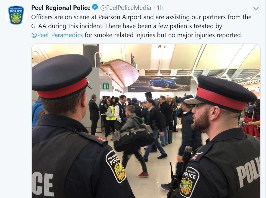 加拿大多伦多机场T1航站楼发生火灾 一人送医