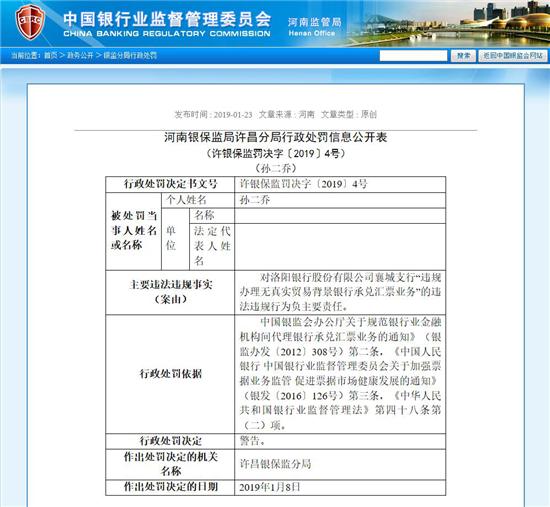 河南银监局1月23日通报截图