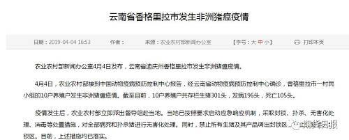 云南省香格里拉市也在日前发现非洲猪瘟疫情。香格里拉市一村民小组的10户养殖户发生非洲猪瘟疫情。10户养殖户共存栏生猪301头,发病196头,死亡105头。
