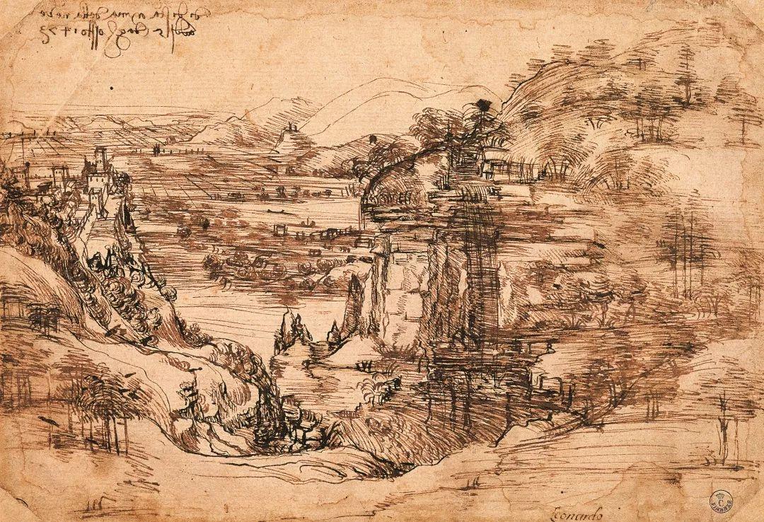 这幅钢笔墨水素描现藏于意大利佛罗伦萨的乌菲齐美术馆,它描绘了亚诺河谷和蒙特卢波城堡的景色,其技法也超越了同时代的作品。