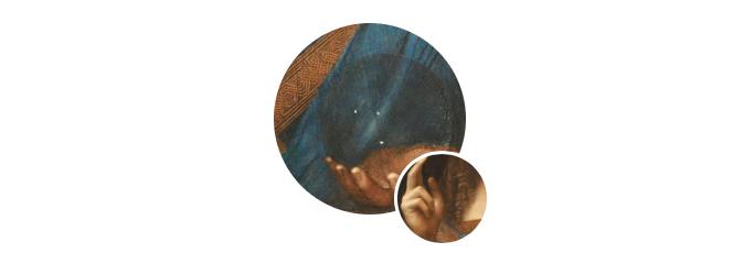 画面中身穿青金色长袍的耶稣左手托着一颗水晶球,右手举起作出赐福的手势。这一主题在16世纪初很流行,但是列奥纳多的版本充满了他一贯的风格:画中人物在让人感到安宁的同时又令人不安,他有神秘的凝视、难以捉摸的微笑、瀑布般的卷发和朦胧的柔美。这幅作品让很多人联想到那幅著名的《蒙娜丽莎》,所以有人干脆称其为男版的《蒙娜丽莎》。
