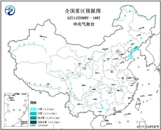 大雾黄色预警:今天辽宁及渤海海峡等地有大雾