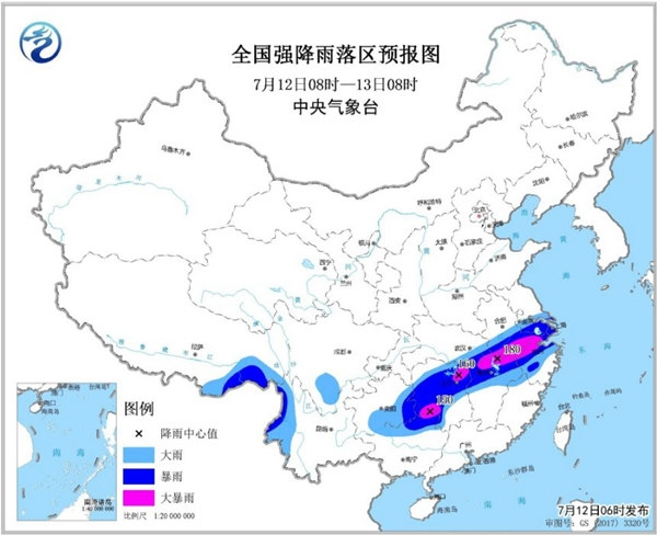 暴雨黄色预警 湖北浙江等6省区局地有大暴雨
