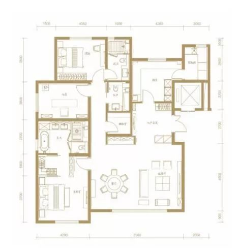 185�O3室2厅3卫户型图