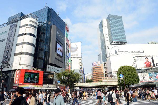 日本涩谷商业区街头。(新华社)