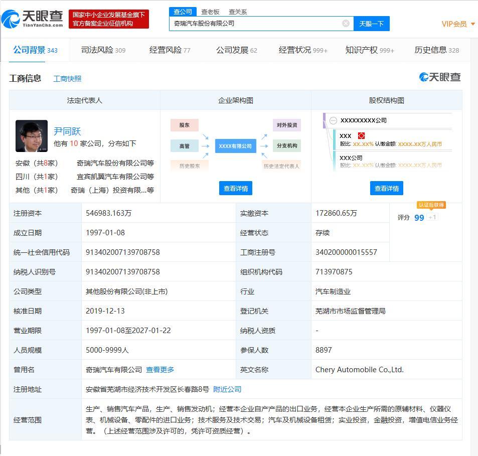 【奇瑞汽车29位高管集体退出,注册资本新增至54.7亿