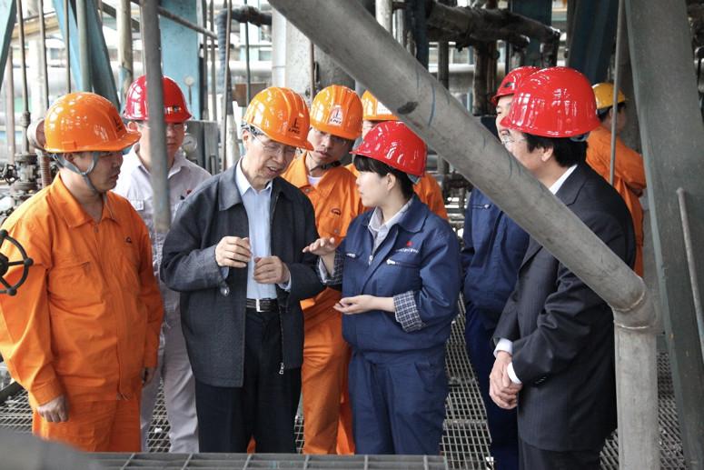 陈俊武院士在陕西华县DMTO工业试验项现在现场听取装配试车情况汇报
