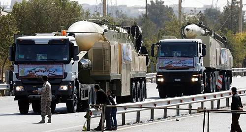 """伊朗新式""""霍拉姆沙赫尔""""弹道导弹(法新社)"""