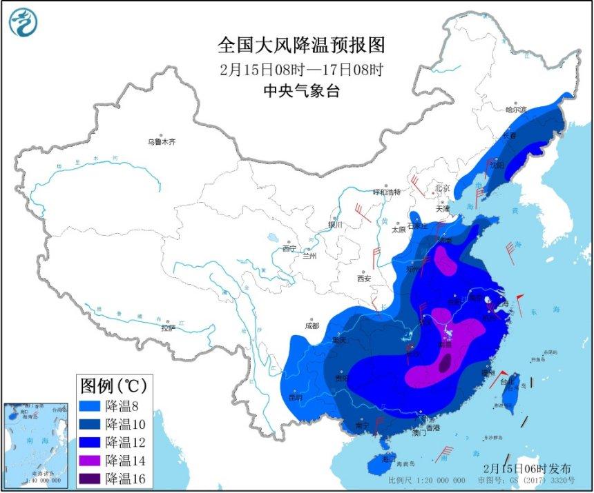 寒潮黄色预警 中东部大部将降温8至10℃