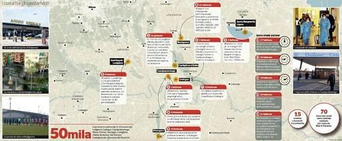 """意大利媒体公布的""""一号病人""""走动轨迹图,图中文字外示有5万人、10个城镇受到他的影响"""