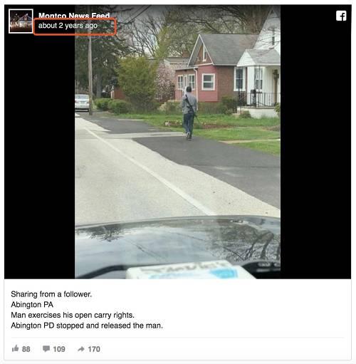2018年,美国宾夕法尼亚州别名外子公开带着枪走在街上,被拍下这张照片上传至网络。之后该外子由于心境健康题目被警方拘留。