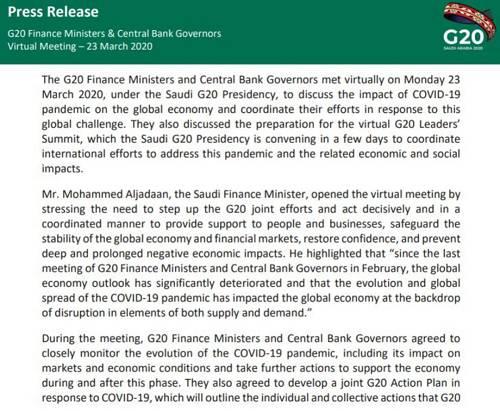 上述视频会议商议了COVID-19大通走对全球经济的影响,并调和G20答对这一全球挑衅。会议还商议了20国集团(G20)领导人峰会的筹备做事。20国集团财长和央走走长批准亲昵监测COVID-19大通走的演变,包括其对市场和经济状况的影响,并采取进一步辇儿动,声援在此期间和之后的经济发展。
