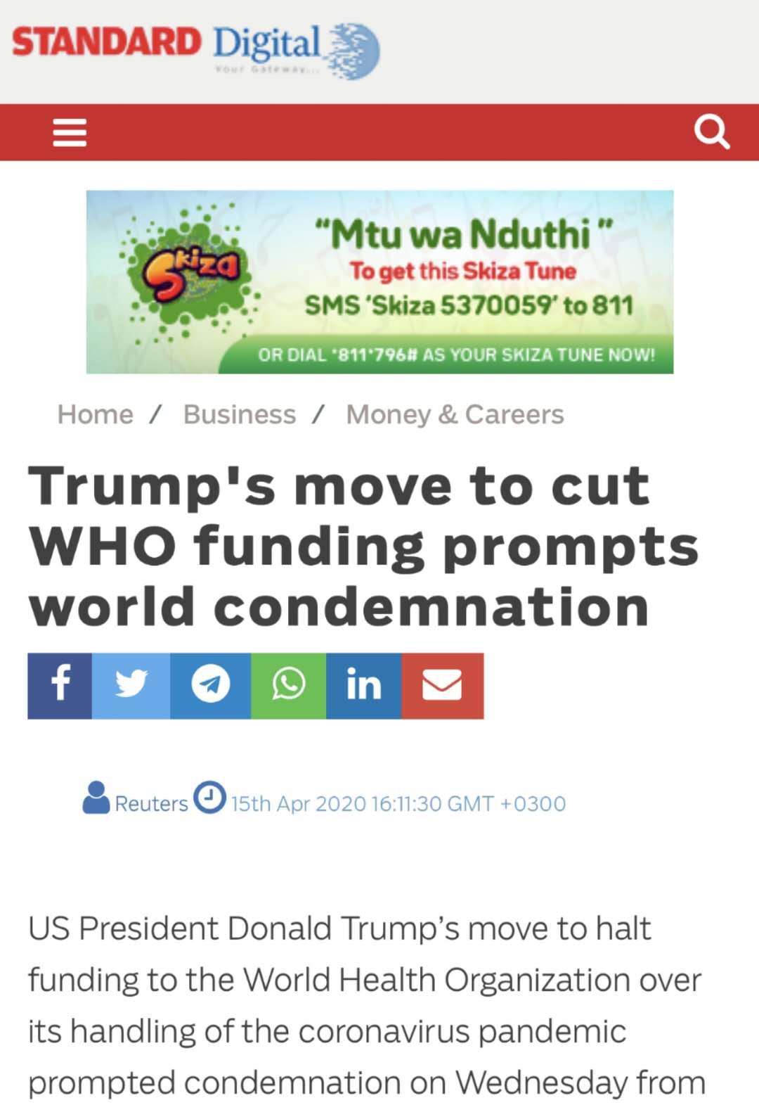 肯尼亚《旗帜报》文章《特朗普堵截世卫资金引发世界指摘》