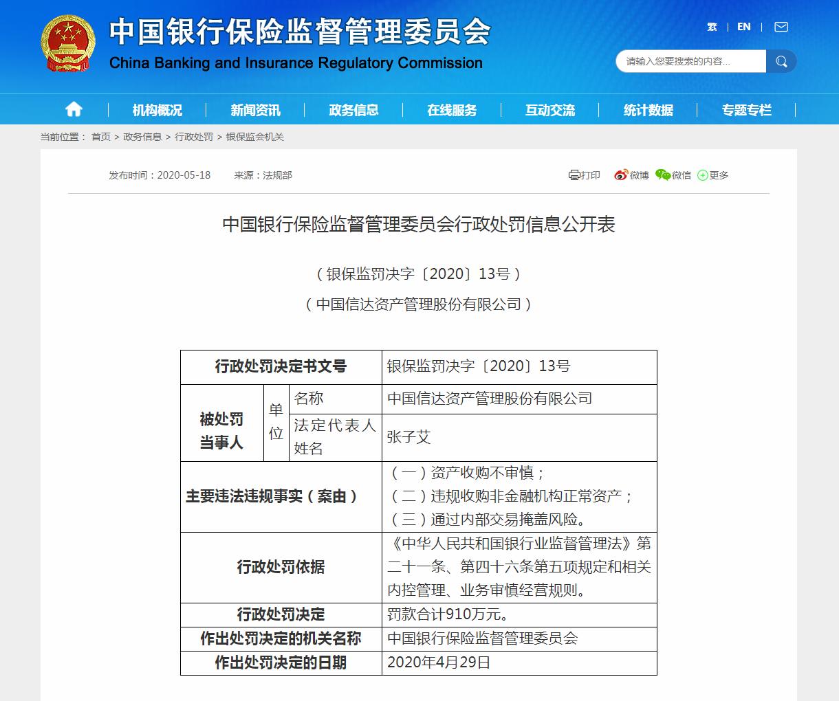 910万!中国信达资产多项违规再遭监管巨额罚单