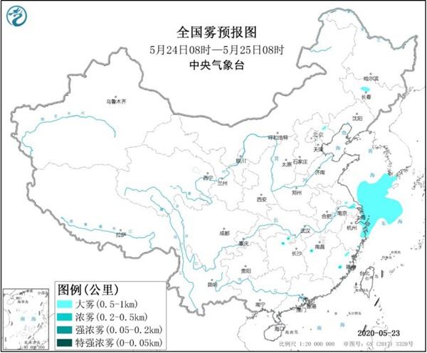 大雾黄色预警:江苏上海浙江等地局地有浓雾