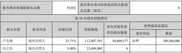 先锋新材营收下滑态势扩大,实控人卢先锋股权质押高达93.9%,其一致行动人还明知故犯违规减持