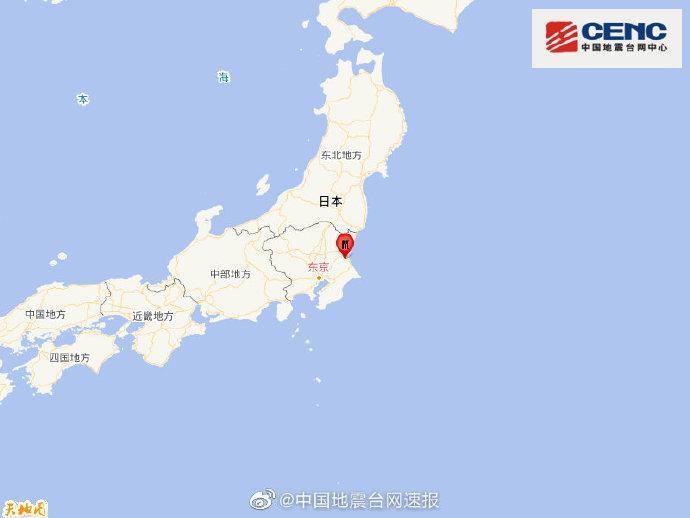 日本本州岛发生5.1级地震 震源深度100千米