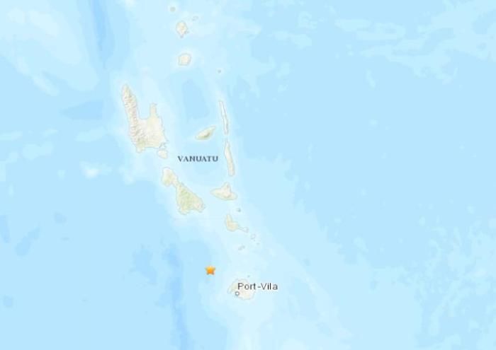 瓦努阿图群岛附近海域发生5.1级地震 震源深度26公里