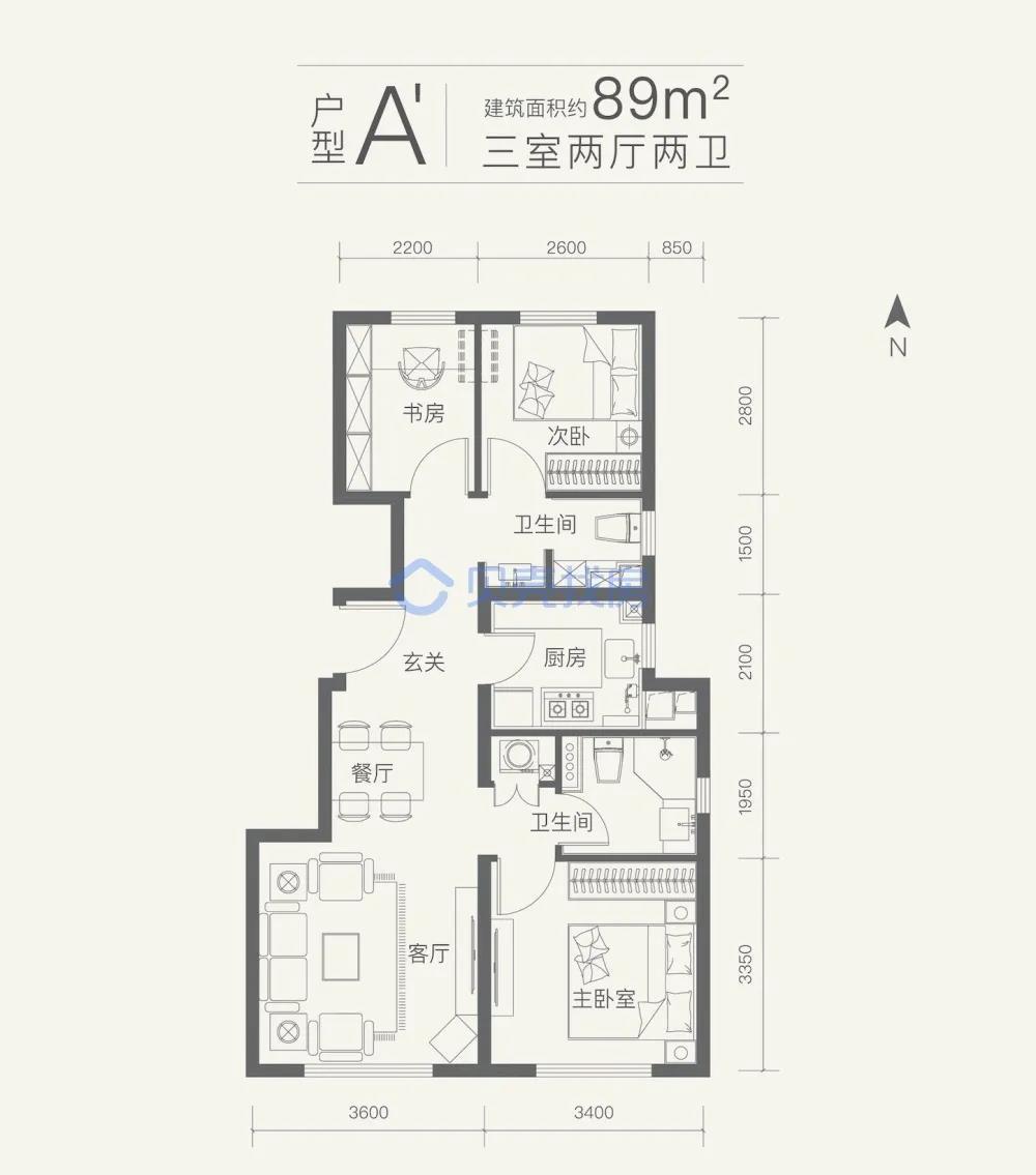 89�O3室2厅2卫户型图(来源:贝壳找房)