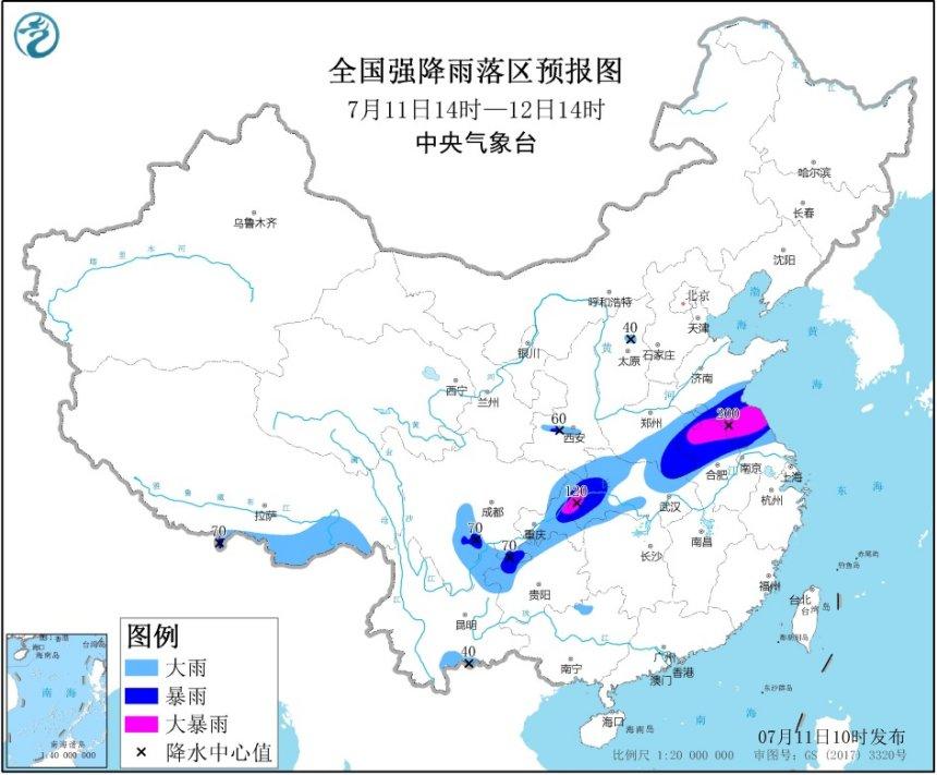 暴雨黄色预警:安徽江苏重庆等地部分地区有大暴雨