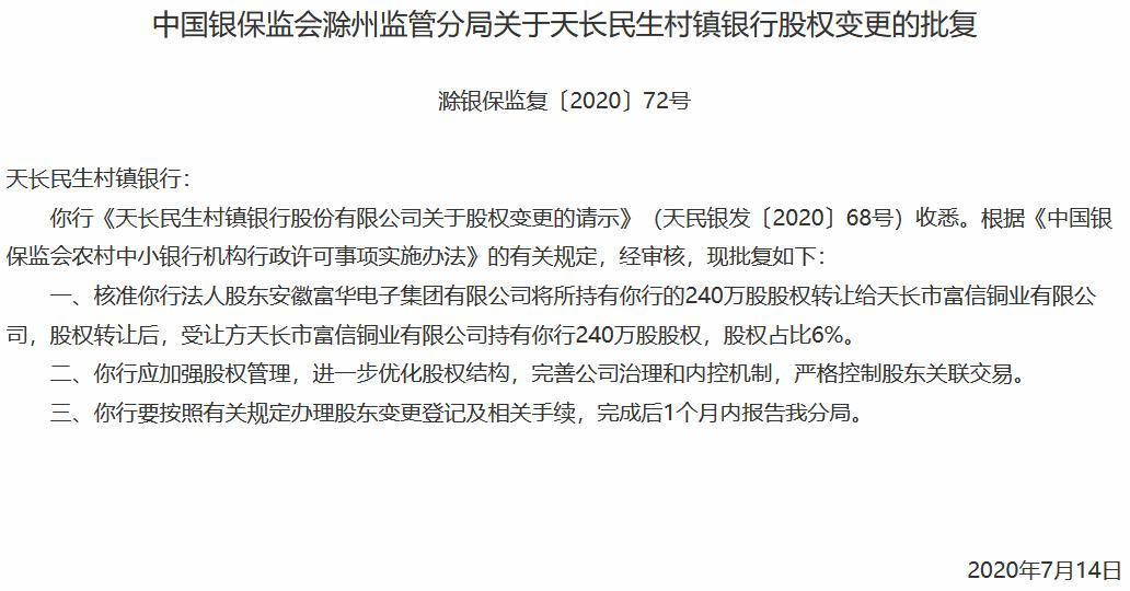 天长民生村镇银行股权变更获批 天长市富信铜业受让6%股权