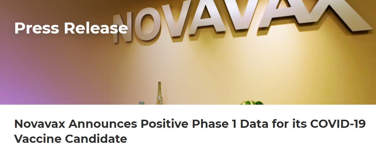 Novavax新冠疫苗研发试验出现积极结果 盘中一度暴涨21%