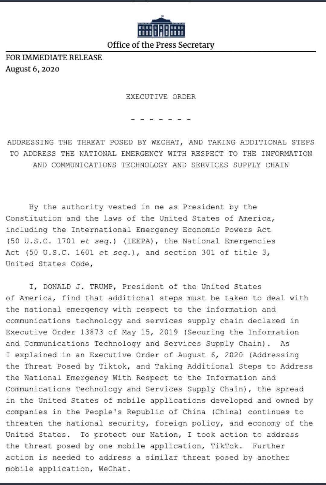 特朗普签署行政命令禁止美企业与字节跳动、腾讯交易