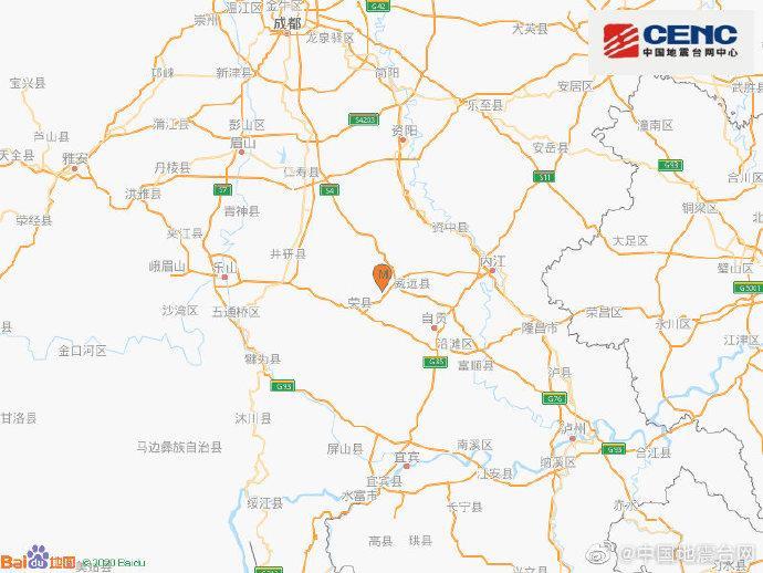 四川内江市威远县发生3.6级地震 震源深度12千米