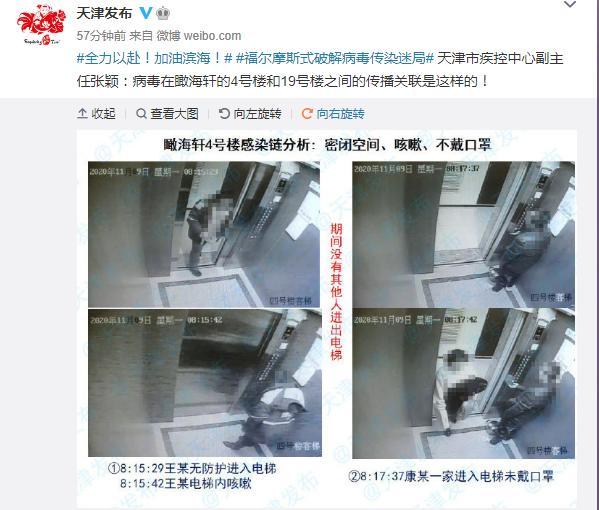 天津瞰海轩小区新冠病毒感染原因曝光!首例感染者曾在电梯咳嗽、打喷嚏