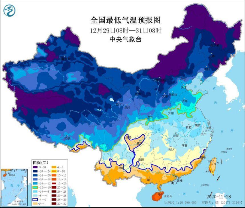 寒潮橙色预警!中东部局地降温超16℃ 0℃线将扩至华南北部