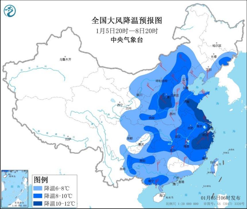 寒潮蓝色预警:中东部地区气温将普遍下降6~8℃