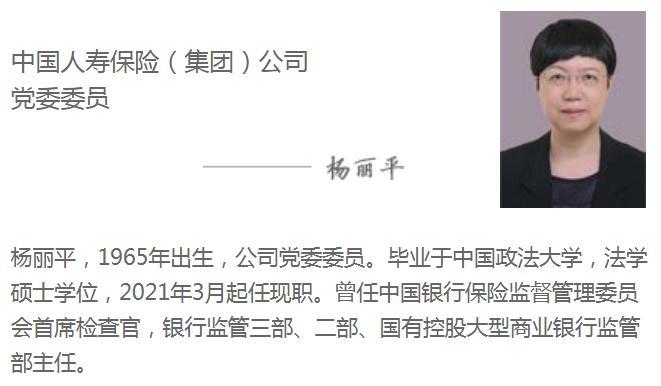 银保监会首席检查官杨丽平就任国寿集团党委委员
