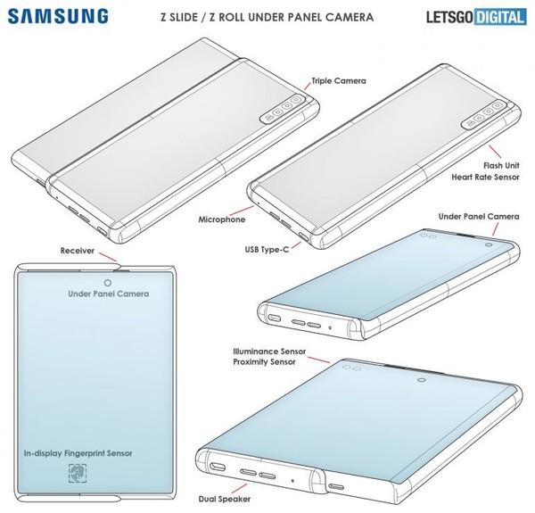 三星卷轴屏手机设计专利公开 屏下镜头设计或明年发