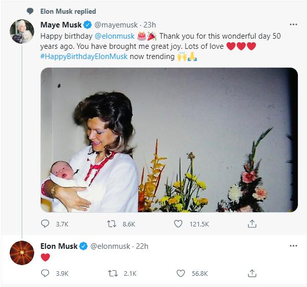 """马斯克母亲为儿子50岁生日送祝福""""硅谷钢铁侠""""婴儿照曝光"""