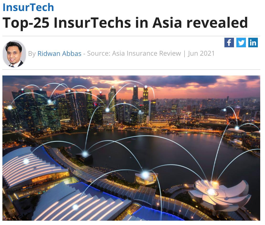 水滴公司入选《亚洲保险评论》2021亚洲保险科技Top25榜单