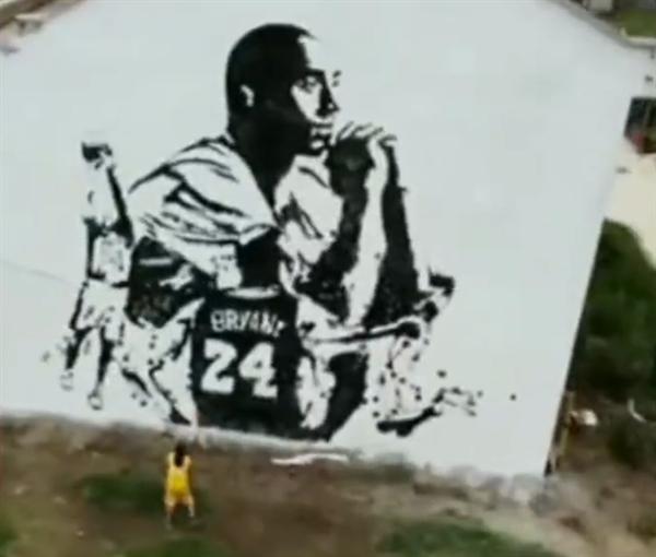小伙拍8000下篮球绘出120平科比画像:被曼巴精神激励