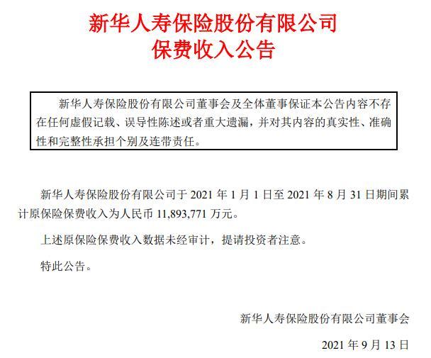 新华保险前8月原保费收入1189.38亿元 同比增2%