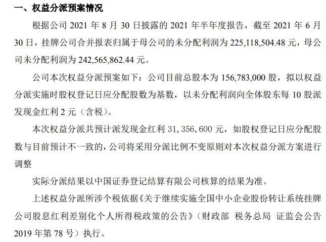 骑士乳业2021年上半年权益分派预案通过拟每10股派现金红利2元(含税)